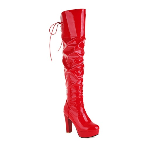 Round Toe Plain Lace-Up Back Chunky Heel Lace-Up Boots