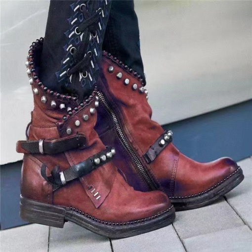 Plus Size Patchwork Side Zipper Round Toe Western Boots
