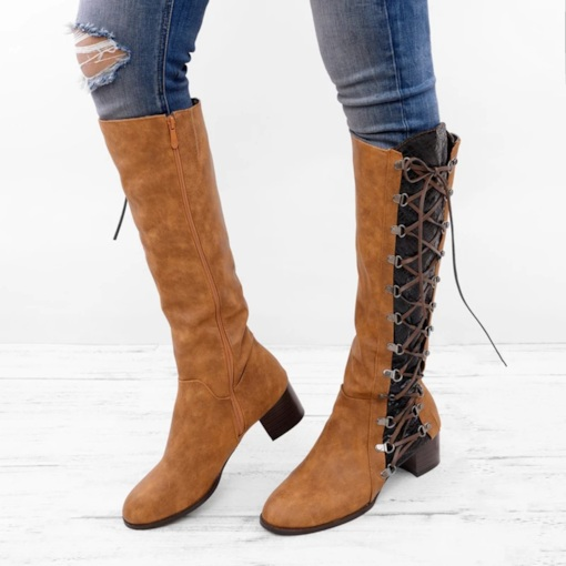 Round Toe Color Block Side Zipper Chunky Heel Professional Boots