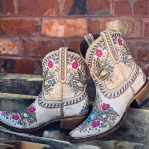 Chunky Heel Slip-On Floral Pointed Toe PU Boots