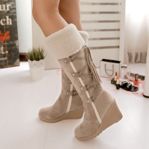 Side Zipper Round Toe Patchwork Wedge Heel Lace-Up Boots