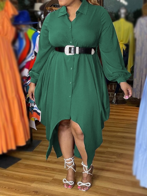Plus Size Ankle-Length Lapel Long Sleeve Button Single-Breasted Women's Dress