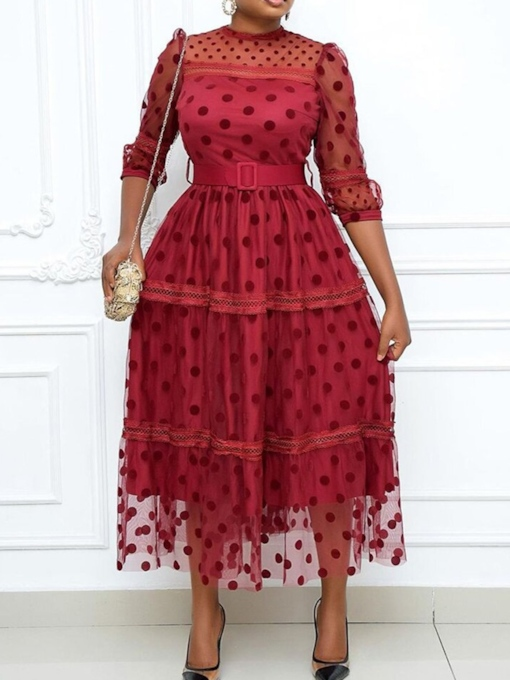 Plus Size Ankle-Length Patchwork Three-Quarter Sleeve Stand Collar Fashion Women's Dress