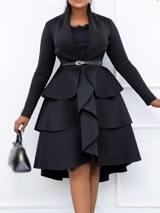 Plus Size Patchwork Pullover Mid-Calf Long Sleeve Women's Dress