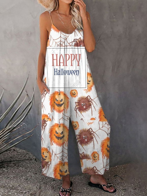 Halloween Color Block Casual Ankle Length Pocket Loose Women's Jumpsuit