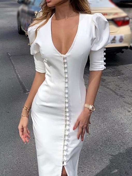 V-Neck Mid-Calf Button Half Sleeve Single-Breasted Women's Dress