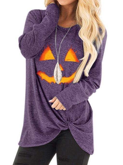 Mid-Length Color Block Long Sleeve Round Neck Loose Women's T-Shirt