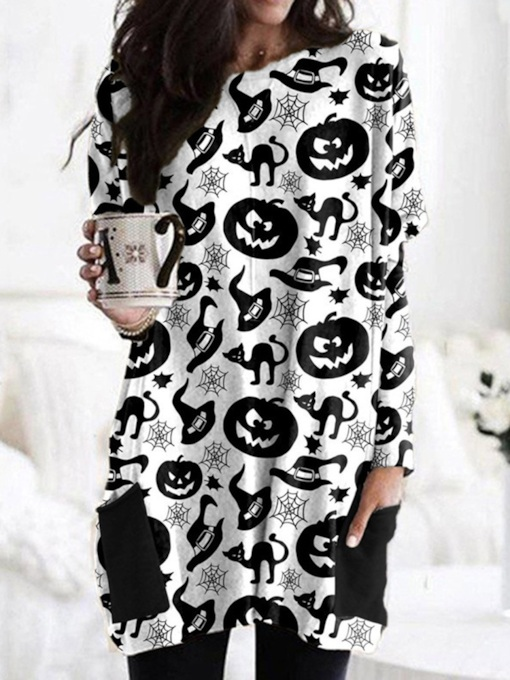 Mid-Length Round Neck Color Block Long Sleeve Fall Women's T-Shirt