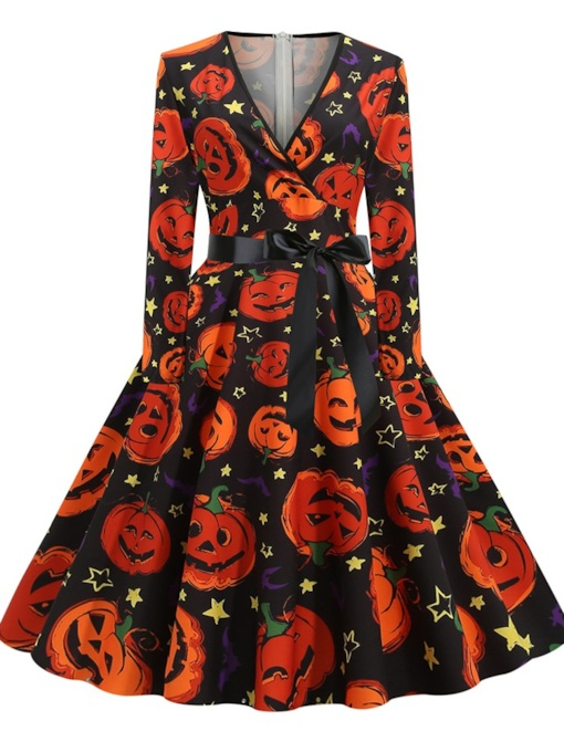 Halloween Long Sleeve V-Neck Mid-Calf Lace-Up Expansion Women's Dress