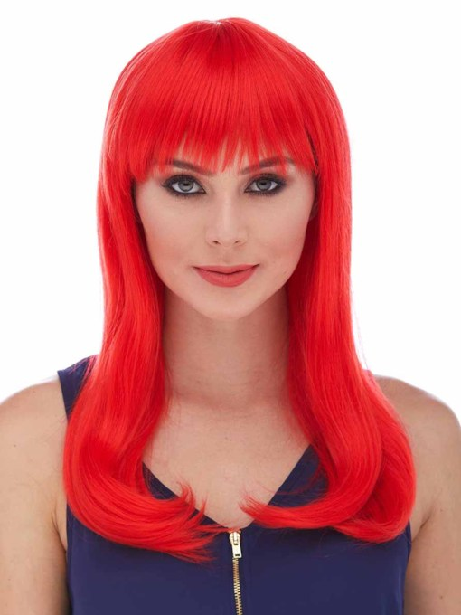 Halloween Custome Cosplay Wigs Long Red Bob Bangs Straight Synthetic Hair Capless 18 Inches Wigs