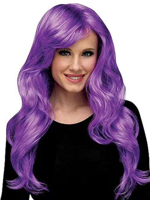 Halloween Cosplay Wigs Women's Long Layered Wavy Purple Synthetic Hair Capless 26 Inches Wigs