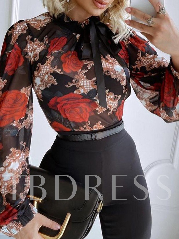 Stand Collar Lace-Up Floral Standard Women's Blouse