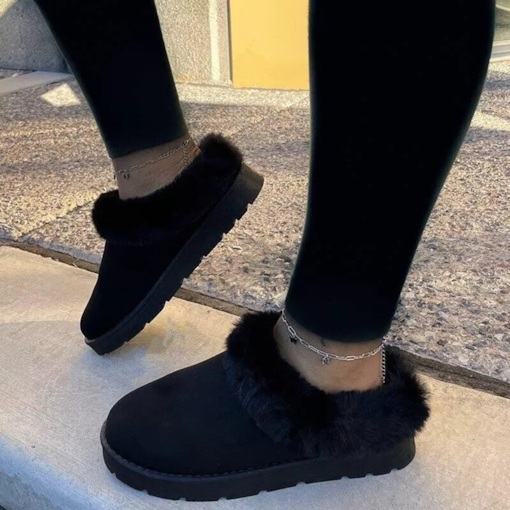 Plain Slip-On Round Toe Flat With Casual Boots