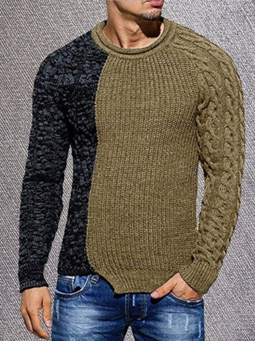 Standard Round Neck Patchwork Color Block Fall Men's Sweater