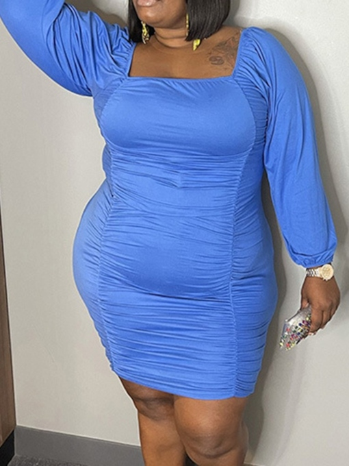 Plus Size Square Neck Nine Points Sleeve Pleated Above Knee Fashion Women's Dress