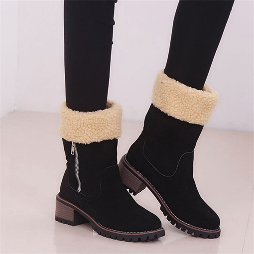 Round Toe Side Zipper Chunky Heel Patchwork Casual Boots