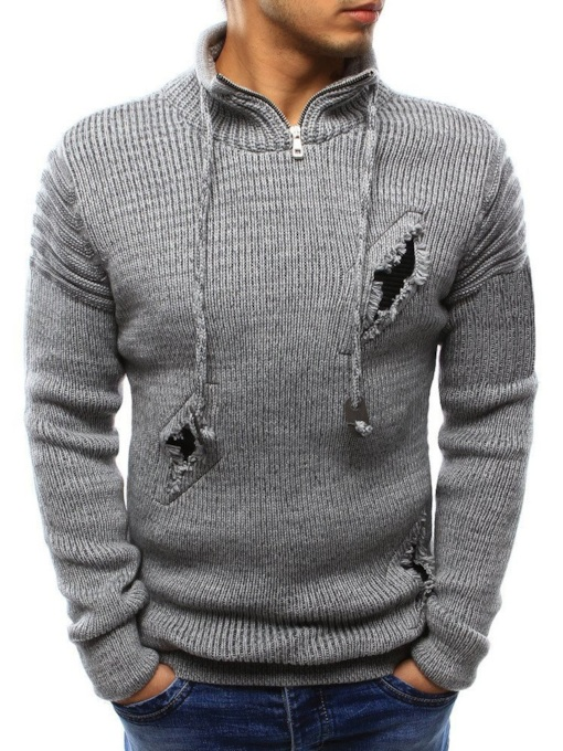Stand Collar Hole Standard Casual Men's Sweater
