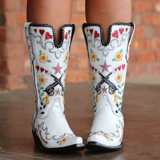 Square Toe Slip-On Chunky Heel Floral Professional Boots