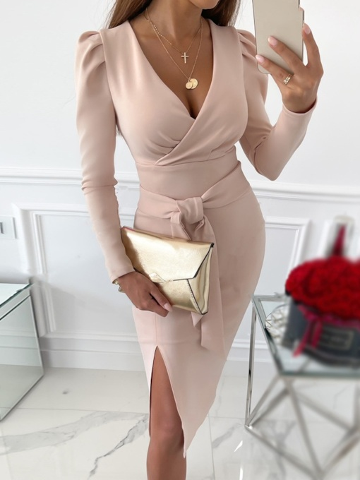 Lace-Up Long Sleeve V-Neck Mid-Calf Bodycon Women's Dress