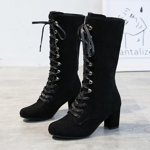 Round Toe Chunky Heel Lace-Up Front Plain Western Boots