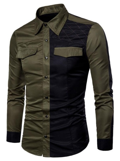 Standard Lapel Color Block Casual Patchwork Single-Breasted Men's Shirt