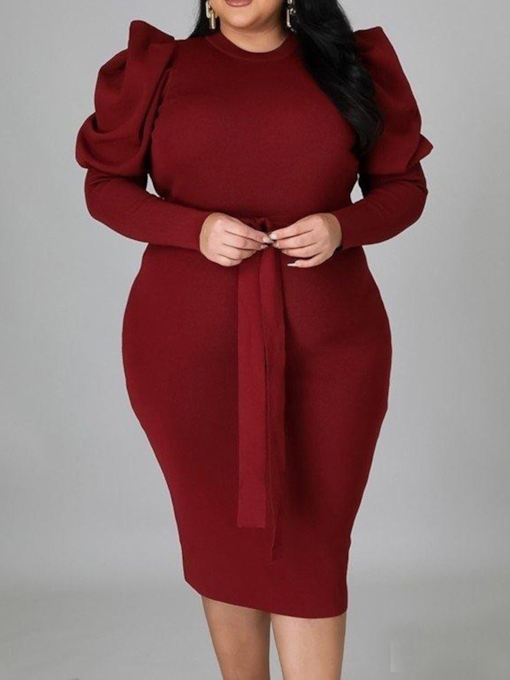 Plus Size Lace-Up Long Sleeve Mid-Calf Round Neck Bodycon Women's Dress