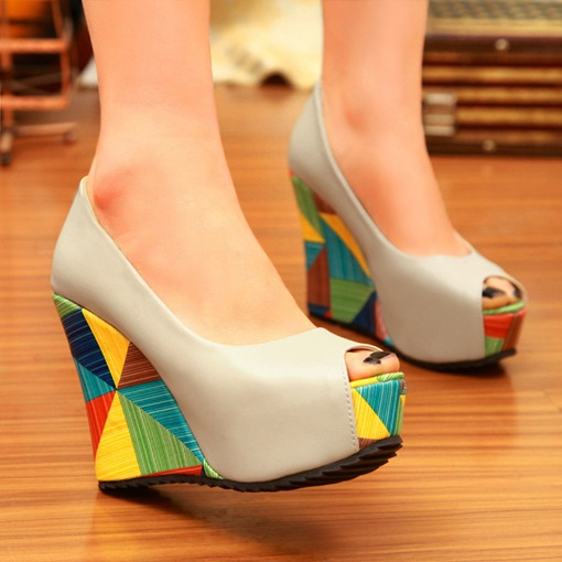 Peep Toe Candy Color Wedge Heel Slip-On Professional Thin Shoes