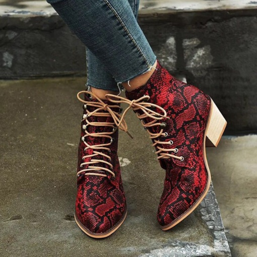 Lace-Up Front Chunky Heel Color Block Pointed Toe Western Boots