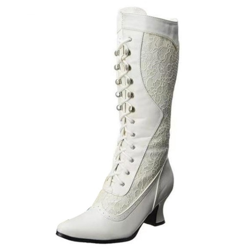 Pointed Toe Patchwork Lace-Up Front Western Boots