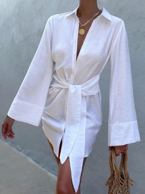Above Knee Long Sleeve Button Lapel Single-Breasted Women's Dress