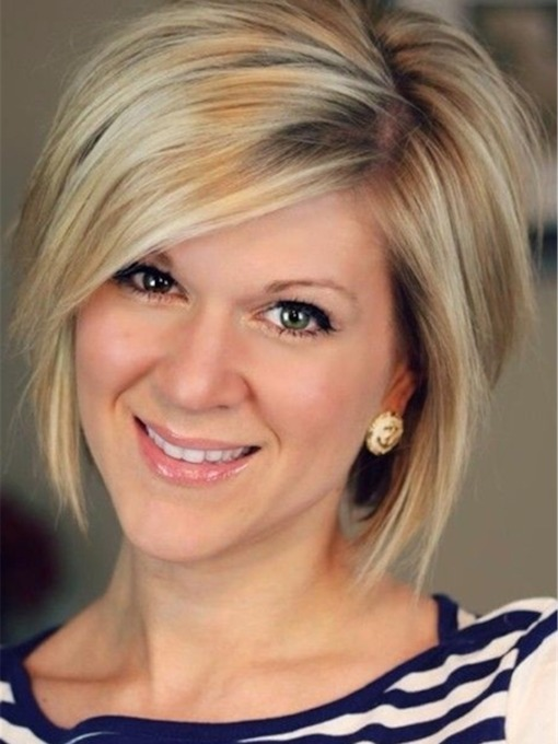 Simple Short Hairstyles for Women Chic Straight Bob with Side Bangs 14 Inches Wigs