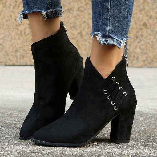 Western Pointed Toe Chunky Heel Back Zip Plain Banquet Boots