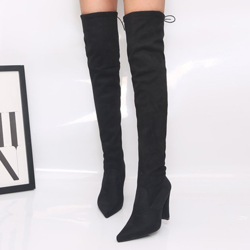 Pointed Toe Chunky Heel Plain Lace-Up Back Professional Boots
