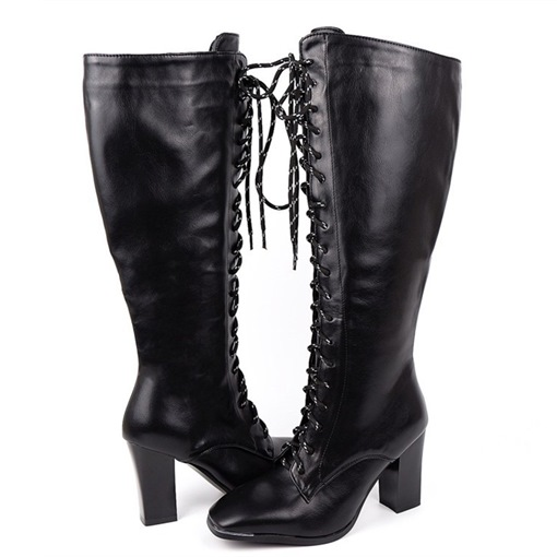 Chunky Heel Lace-Up Front Plain Square Toe Banquet Boots