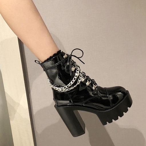 Chunky Heel Round Toe Plain Lace-Up Front Lace-Up Boots