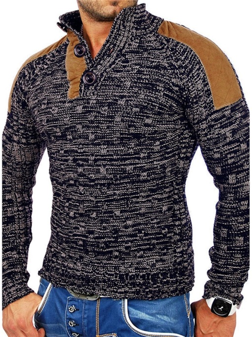 Standard Patchwork Stand Collar Color Block Casual Men's Sweater