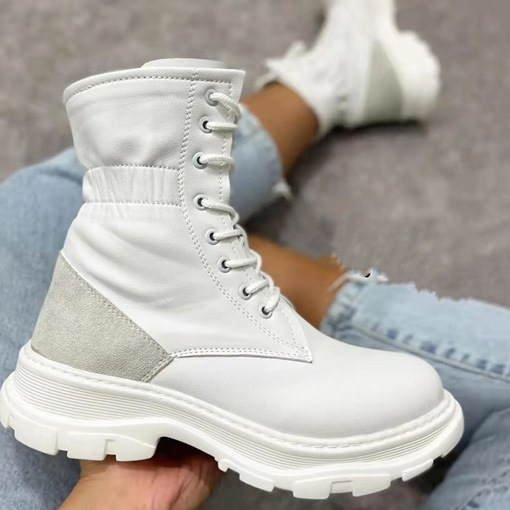 PU Round Toe Lace-Up Front Block Heel Plain Casual Boots