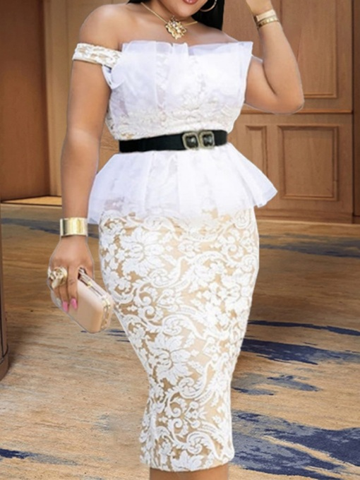 Lace Short Sleeve Off Shoulder Mid-Calf Pullover Women's Dress
