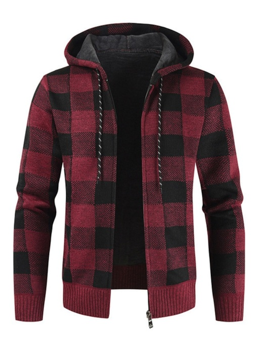 Standard Hooded Plaid Casual Men's Sweater