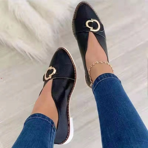 Block Heel Sequin Slip-On Pointed Toe Casual Thin Shoes