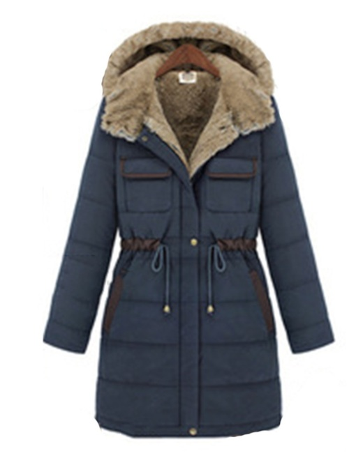 Thick Button Single-Breasted Slim Mid-Length Women's Cotton Padded Jacket
