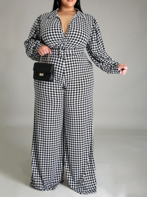Plus Size Mode in voller Länge Hahnentritt-Overall mit hoher Taille Damenoverall