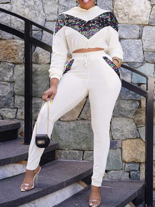 Pants Sequins Sweet Color Block Hooded Women's Two Piece Sets