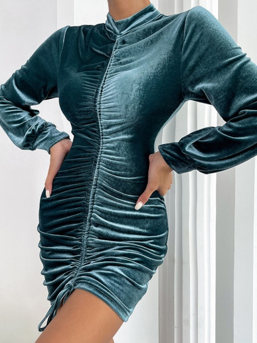 Stand Collar Long Sleeve Above Knee Pleated Pullover Women's Dress