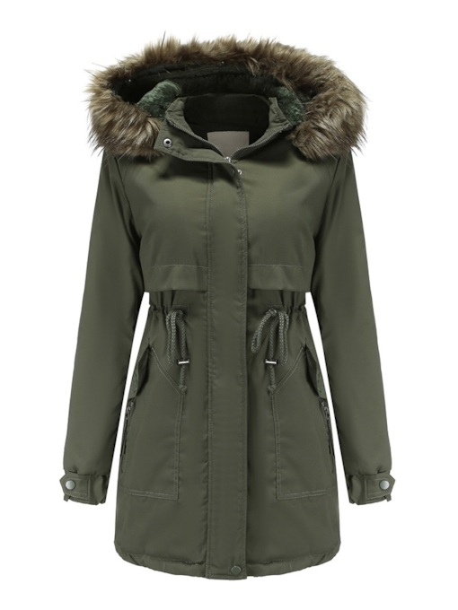 Slim Single-Breasted Pocket Mid-Length Hooded Women's Cotton Padded Jacket