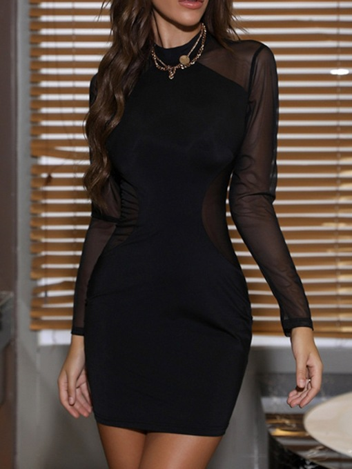 Above Knee See-Through Long Sleeve Stand Collar Pullover Women's Dress