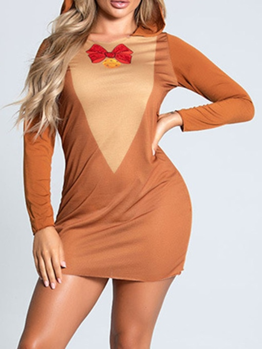 Patchwork Color Block Fashion Long Sleeve Holiday Women's Costumes