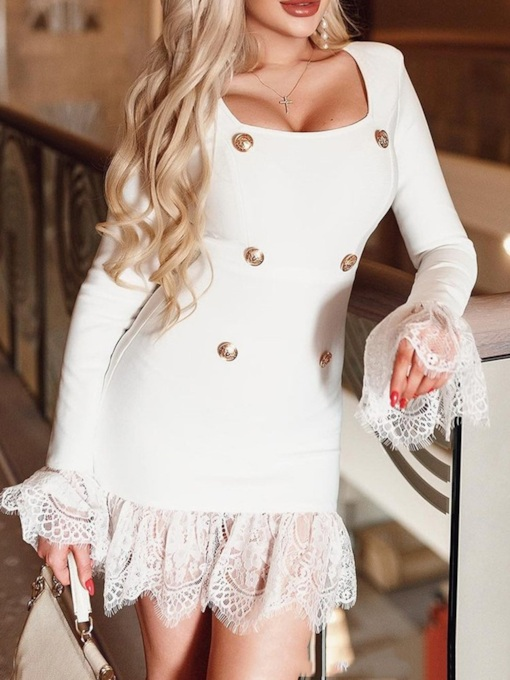 Square Neck Above Knee Long Sleeve Button Pullover Women's Dress