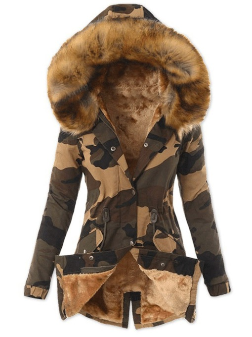 Slim Thick Single-Breasted Button Mid-Length Women's Cotton Padded Jacket