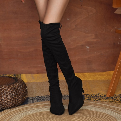 Stiletto Heel Lace-Up Back Leopard Pointed Toe Western Boots